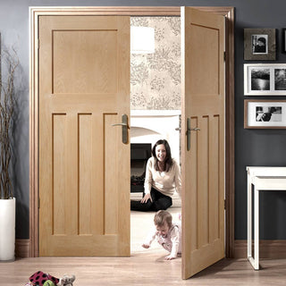 Image: Bespoke DX Oak Panel Door Pair in a 1930's Style
