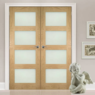 Image: Deanta Coventry Shaker Style Oak Door Pair with Frosted Safety Glass, Unfinished
