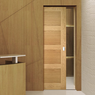 Image: Coventry Shaker Style Oak Single Evokit Pocket Door - Unfinished