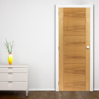 Image: Brisa Mistral Flush Oak Veneered Door - Decorative Grooves - Prefinished