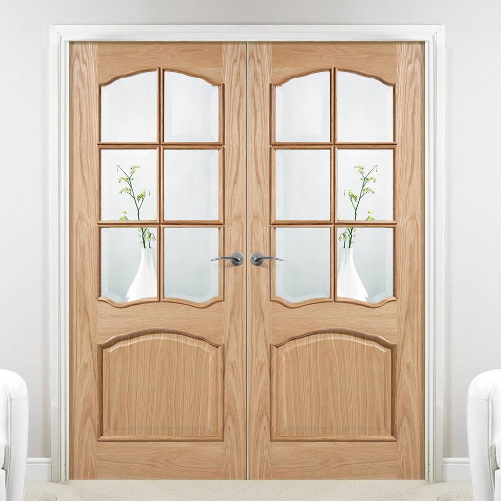 Riviera Oak Door Pair - Raised Mouldings - Bevelled Clear Glass