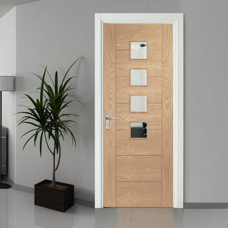 Image: Palermo modern oak veneer glazed interior door