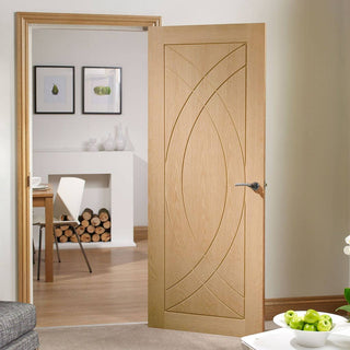 Image: Fire Rated Treviso Flush Oak Door - 1/2 Hour Fire Rated