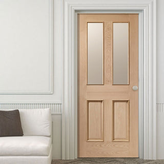 Image: Oak interior door with elegant bevelled glass