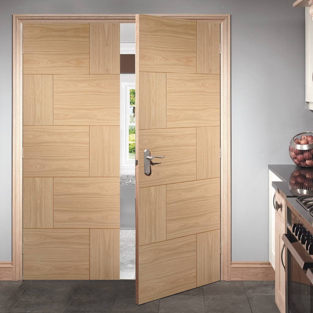 Bespoke Ravenna Oak Flush Door Pair - Prefinished