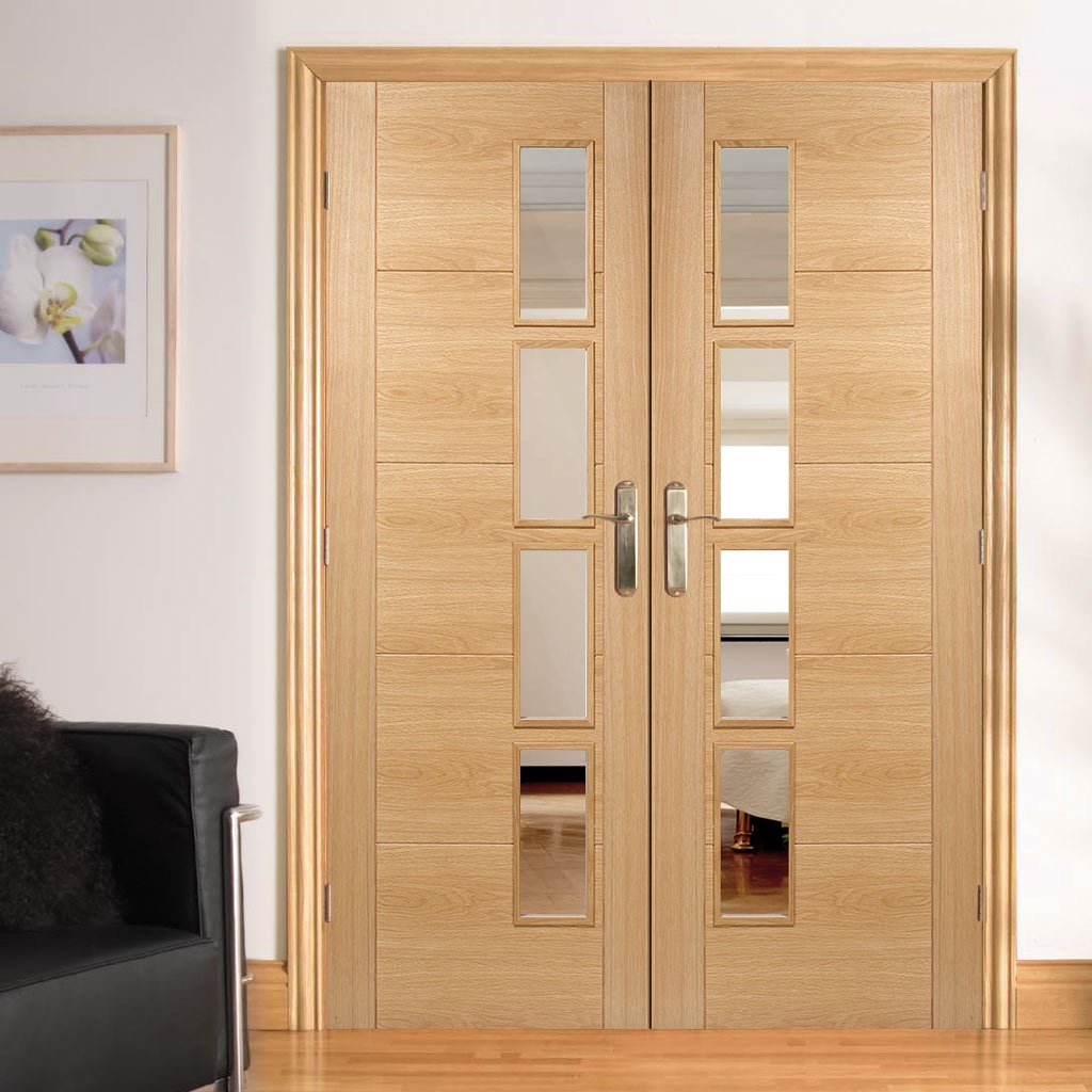 Vancouver Oak 4 Pane Door Pair Clear Glass Offset Prefinished