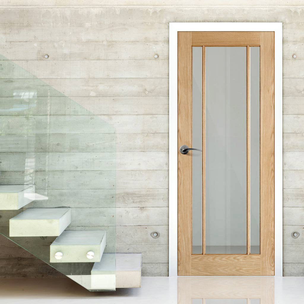 Door and Frame Kit, Lincoln Glazed Oak Door - Clear Glass
