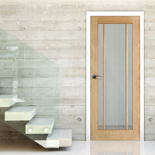 Image: Door and Frame Kit, Lincoln Glazed Oak Door - Clear Glass