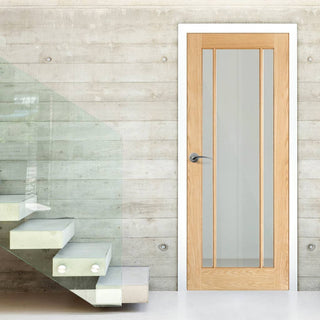 Image: lincoln 3l oak door clear safety glass panes