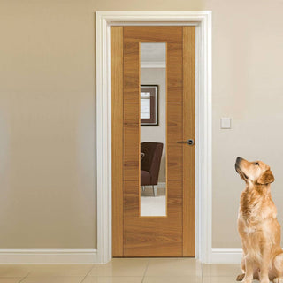 Image: Glazed oak veneer flush interior door