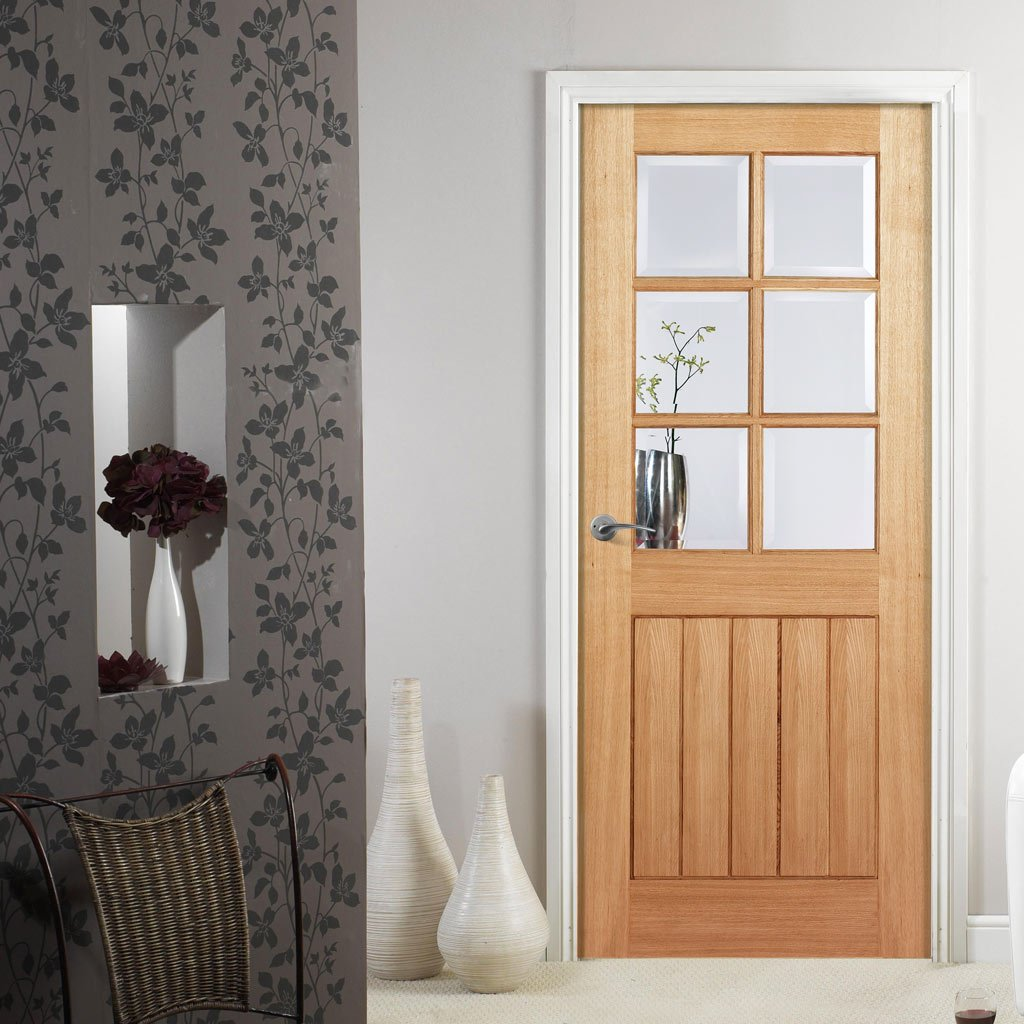 Door and Frame Kit - Mexicano Oak 6 Light Door - Bevelled Clear Glass