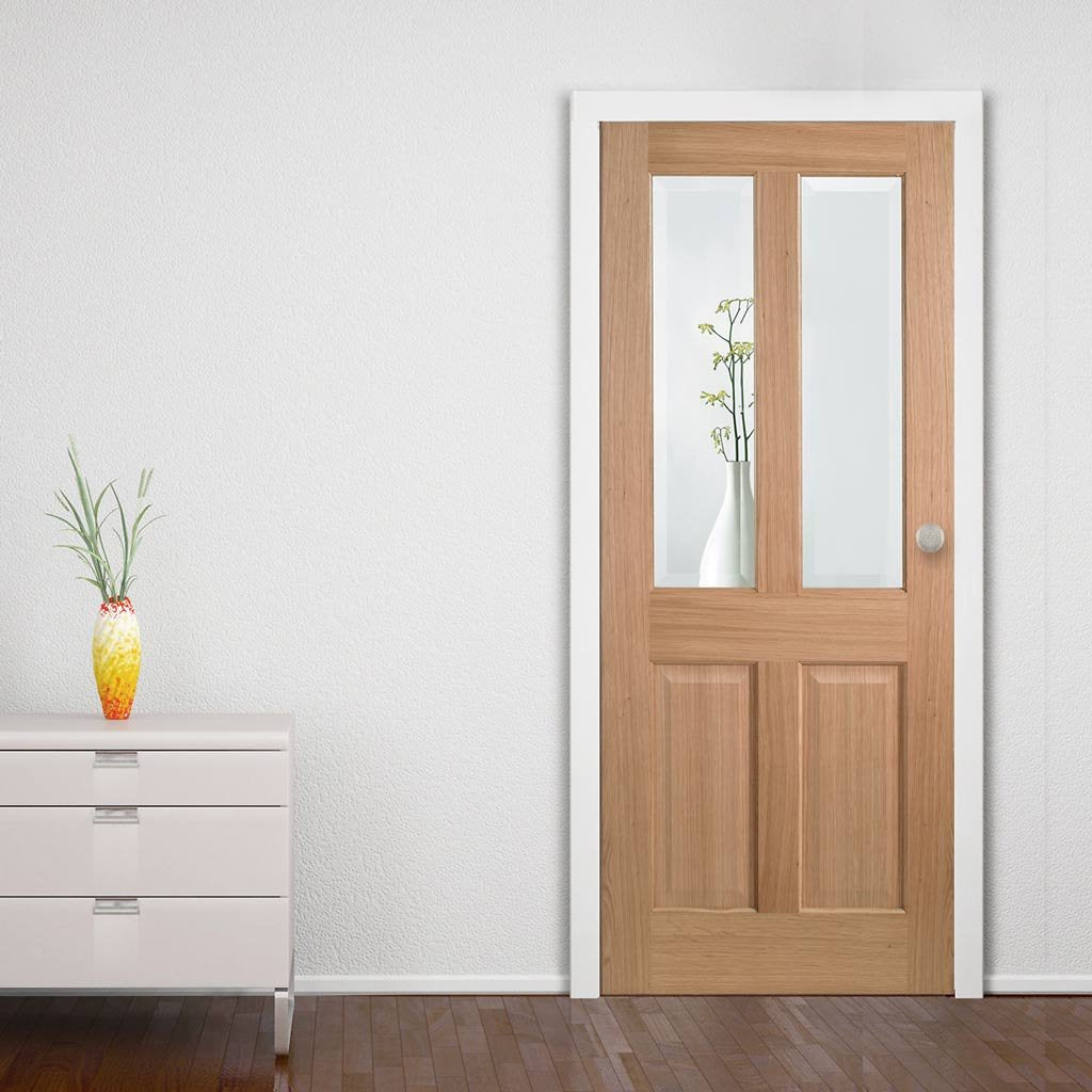 Door and Frame Kit - Richmond Oak Door - Bevelled Clear Glass - Prefinished