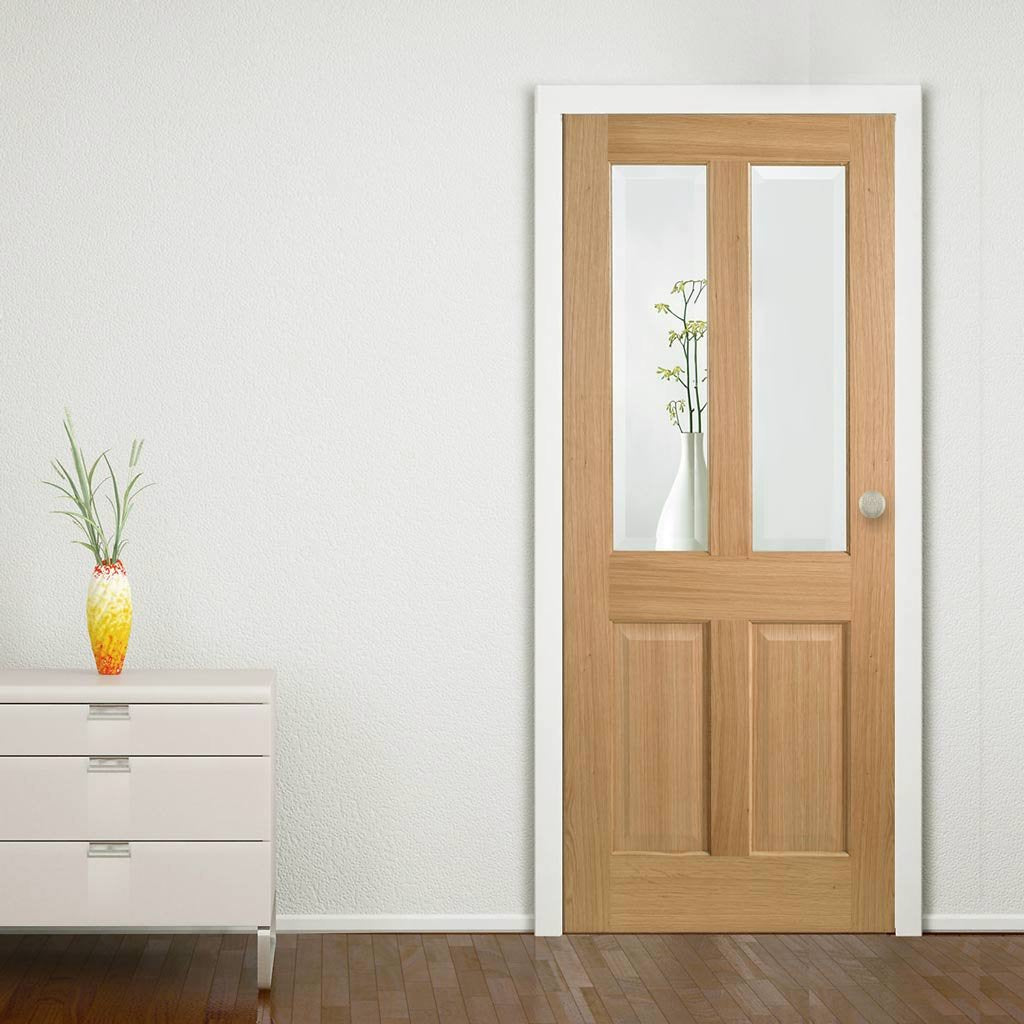 Richmond Oak Door - Bevelled Clear Glass - Prefinished