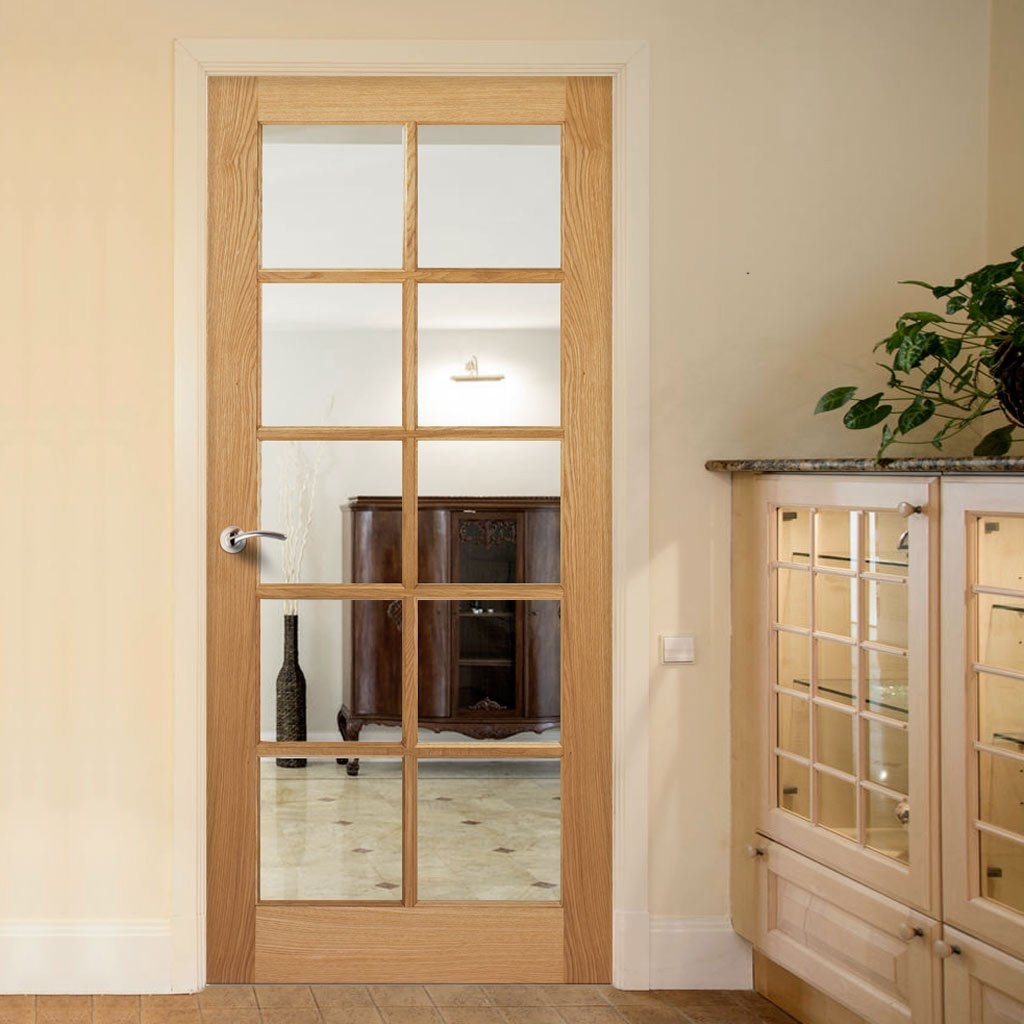 Door and Frame Kit, SA 10 Pane White Oak Door - Clear Glass