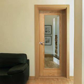 Image: vancouver oak 1l door clear safety glass prefinished 1006 style