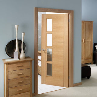 Image: Vancouver Oak 4 Pane Door - Clear Glass Offset Pane - Prefinished