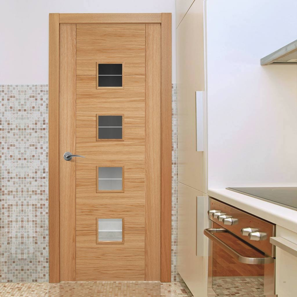 Door and Frame Kit - Vancouver Oak 4LS Door - Diamond Lined Clear Glass - Prefinished