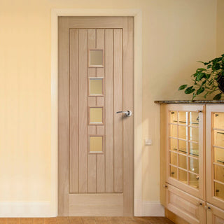 Image: Contemporary Suffolk Oak 4 Pane Door with Obscure Safety Glass