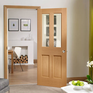 Image: Malton Oak Door with Bevelled Clear Safety Glass and without Raised Mouldings