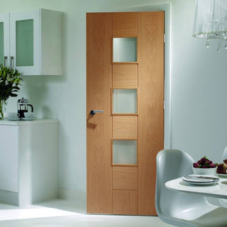 Image: Oak veneer glazed interior door design from XL Joinery UK