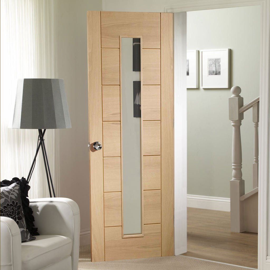 Fire Rated Palermo Oak Door - 1 Pane - Clear Glass