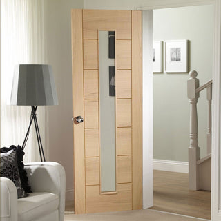 Image: palermo oak door 1 pane of clear safety glass