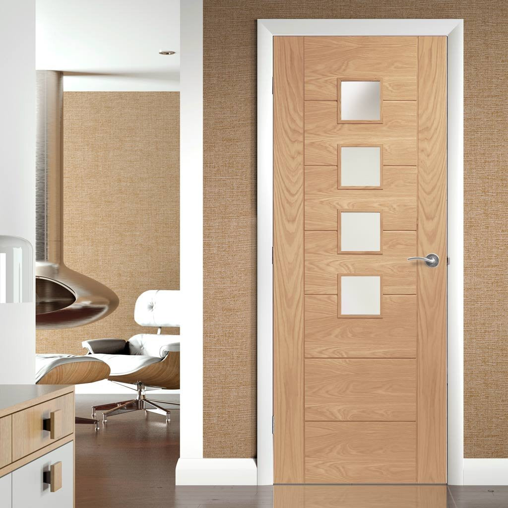 Door and Frame Kit - Palermo Oak Door - 4L - Obscure Glass