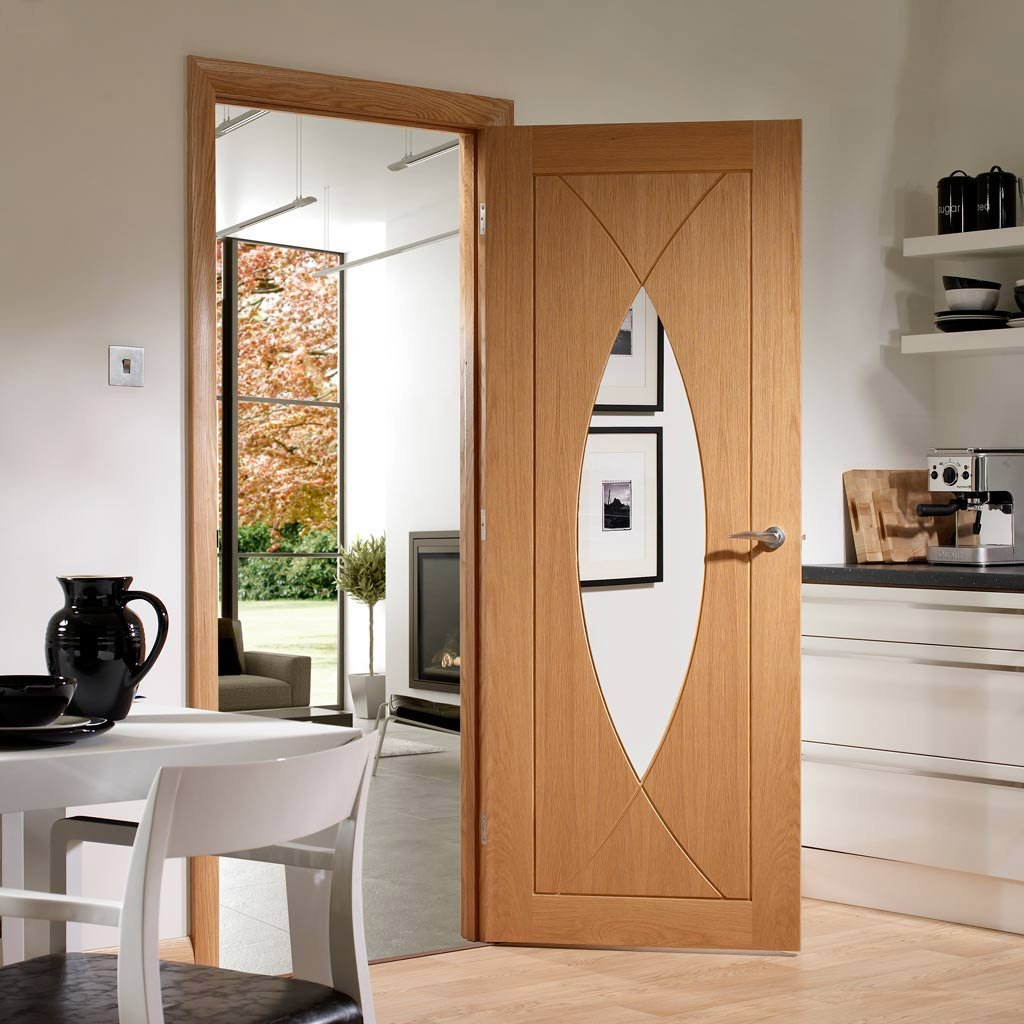Door and Frame Kit - Pesaro Oak Door - Clear Glass - Prefinished