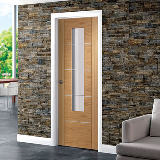 Image: Portici Oak Flush Door - Aluminium Inlay - Clear Glass - Prefinished