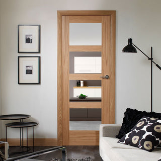 Image: Shaker Oak 4 Pane Door - Clear Glass