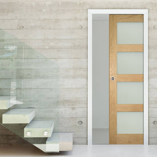 Image: Coventry Shaker Style Oak Single Evokit Pocket Door - Frosted Glass - Unfinished