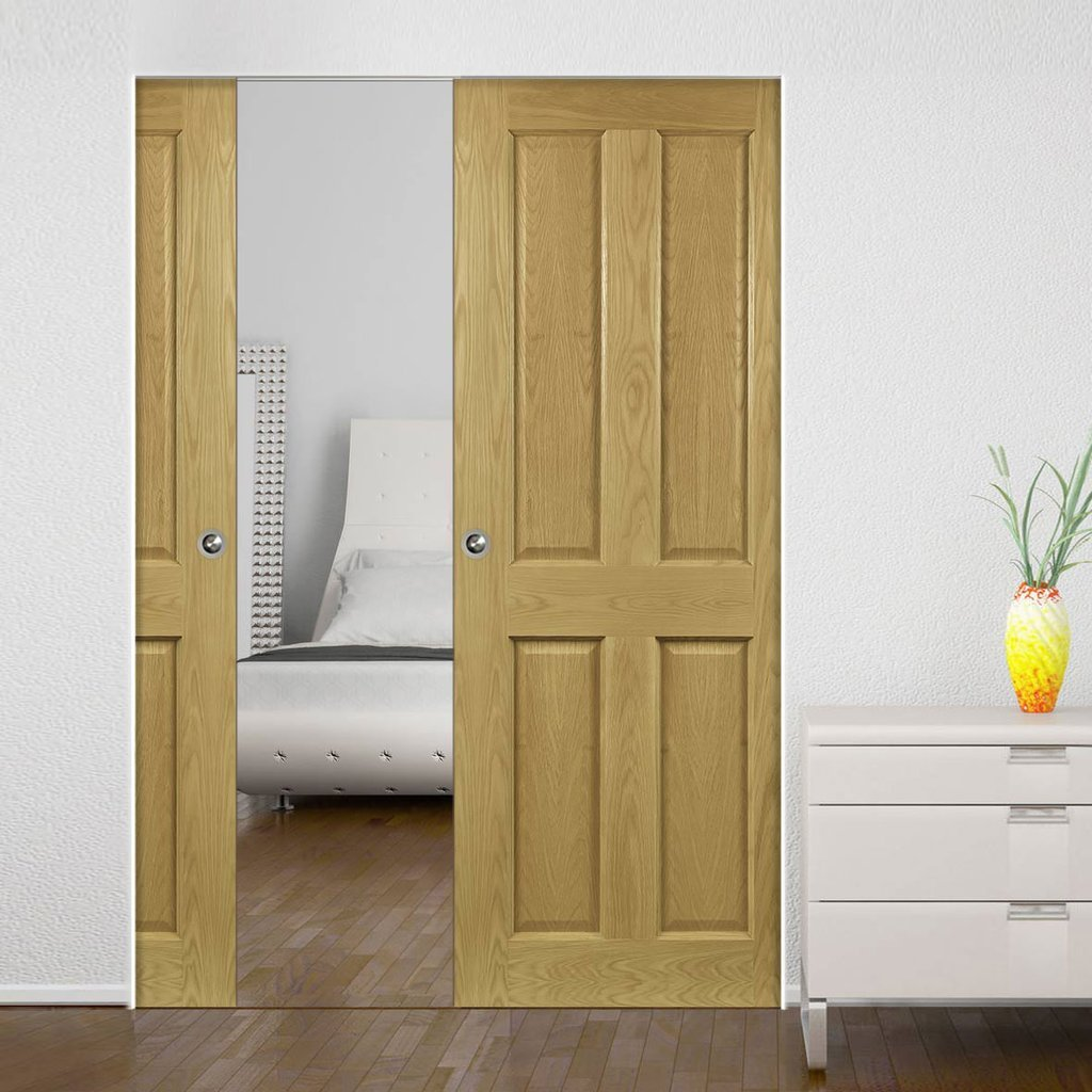 Bury Oak Absolute Evokit Double Pocket Doors - Prefinished
