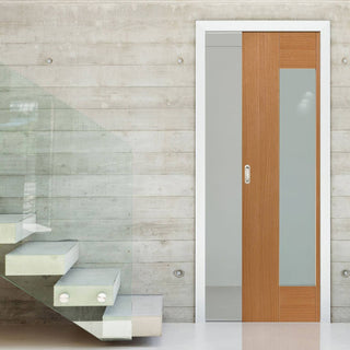 Image: Axis Shaker Oak Single Evokit Pocket Door - Clear Glass - Prefinished