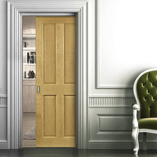 Image: Bury Real American White Oak Crown Cut Veneer Single Evokit Pocket Door - Prefinished