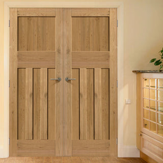 Image: J B Kind Rustic Oak 1930 DX Shaker Door Pair - Prefinished