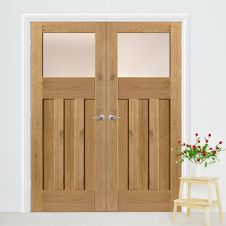 Image: J B Kind Rustic Oak 1930 DX Shaker Door Pair - Obscure Glass - Prefinished