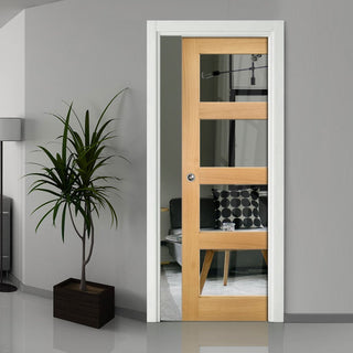 Image: Coventry Shaker Style Oak Single Evokit Pocket Door - Clear Glass - Unfinished