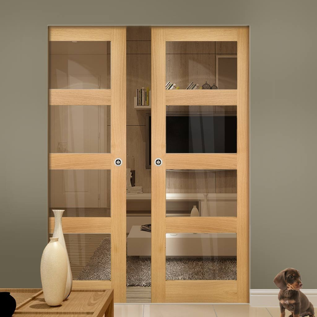 Coventry Shaker Style Oak Absolute Evokit Double Pocket Doors - Clear Glass - Unfinished