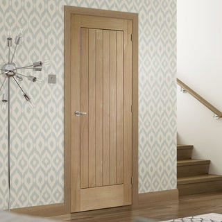 Image: bespoke suffolk oak door vertical lining