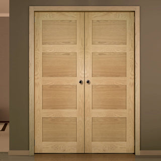 Image: Coventry Shaker Style Oak Door Pair - Unfinished