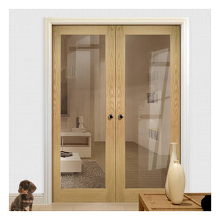 Image: Walden Real American Oak Veneer Door Pair - Clear Glass - Unfinished