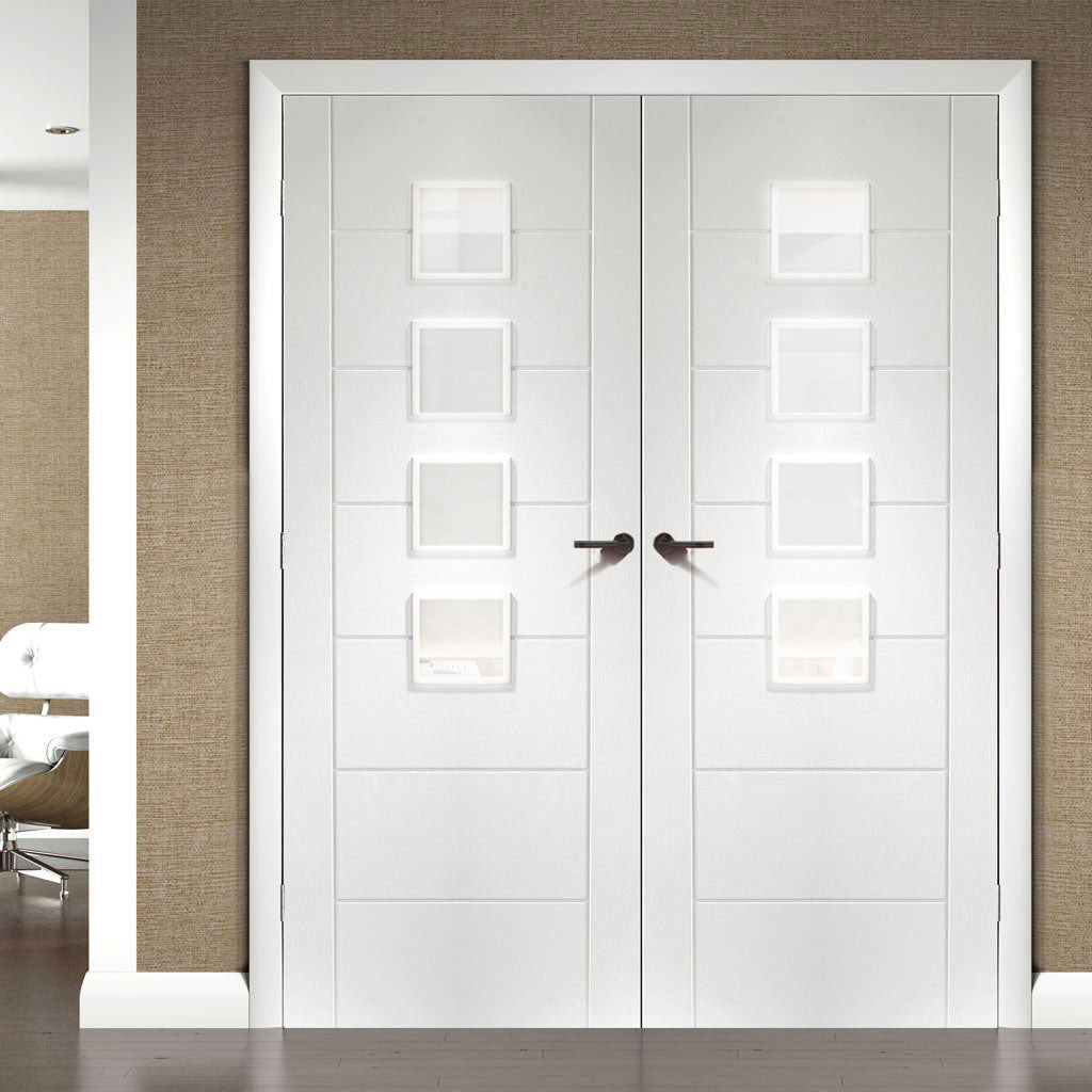 Bespoke Palermo White Primed Glazed Door Pair - Obscure Glass