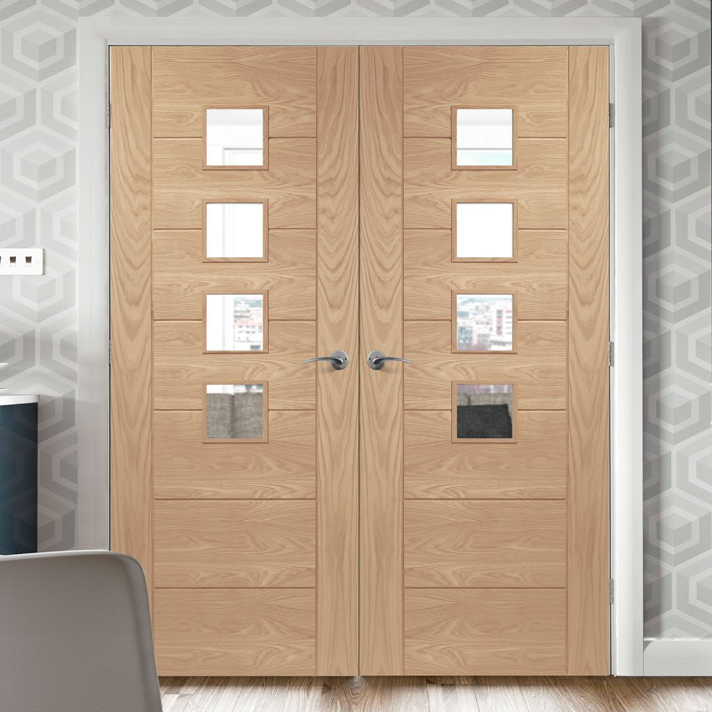 Bespoke Palermo Oak Glazed Door Pair - Prefinished