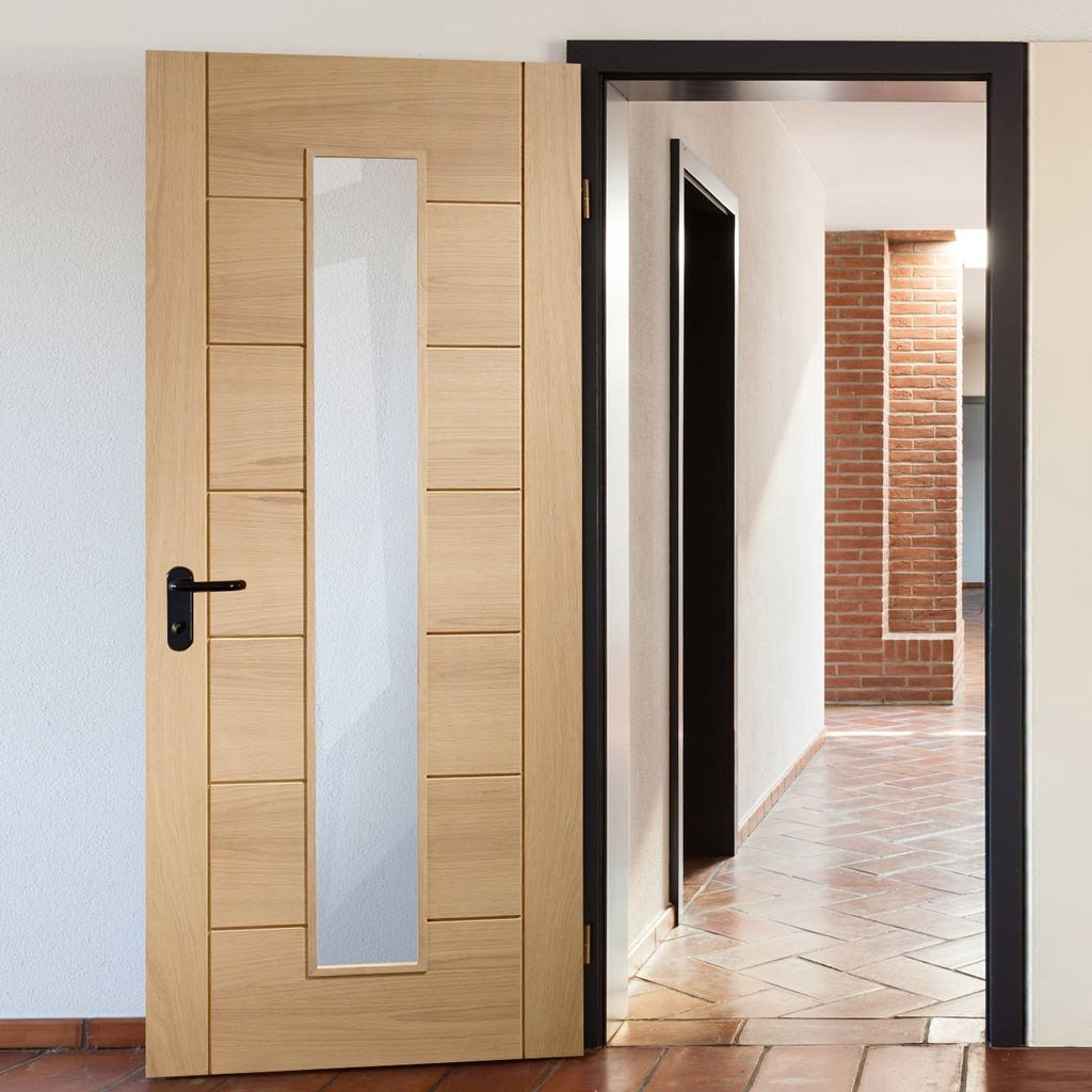 Bespoke Palermo Oak Fire Door - 1L of Clear Glass - 1/2 Hour Fire Rated