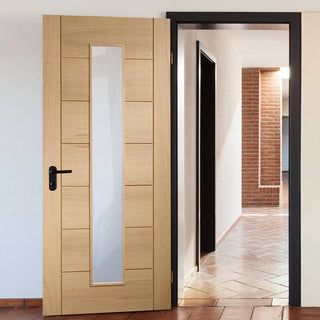 Image: Bespoke Palermo Oak Fire Door - 1L of Clear Glass - 1/2 Hour Fire Rated