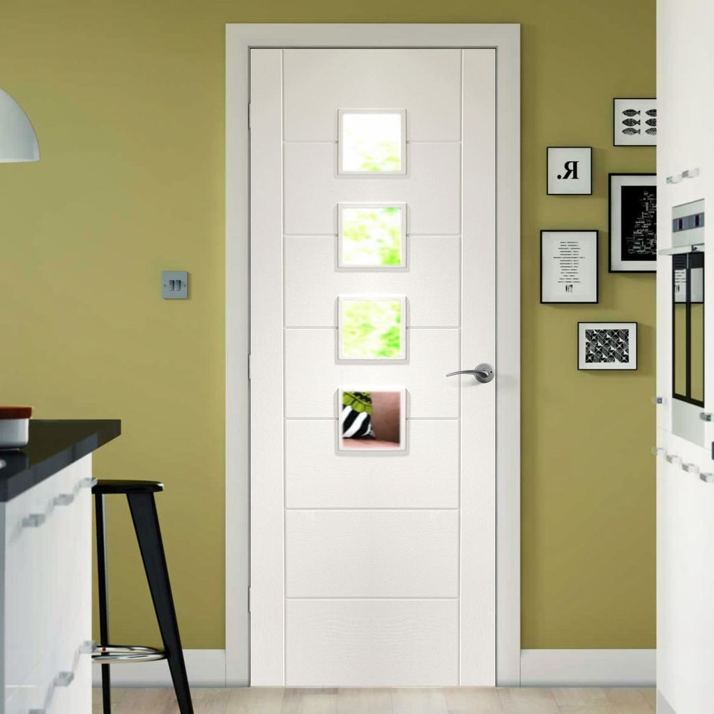 Bespoke Palermo White Primed Glazed Door