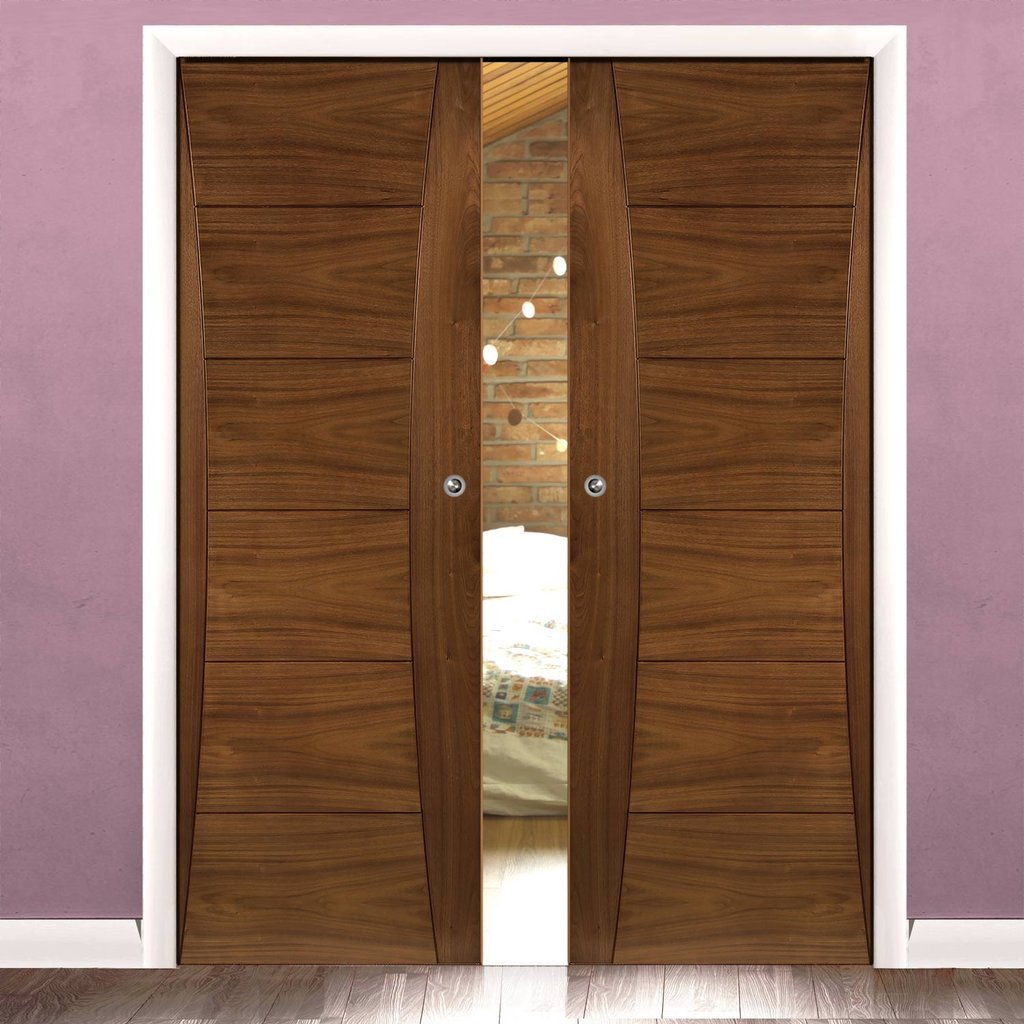 Pamplona Walnut Double Evokit Pocket Doors - Prefinished