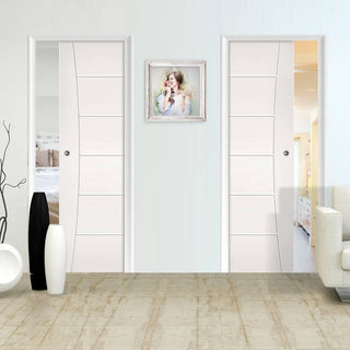 Image: Pamplona Flush Unico Evo Pocket Doors - White Primed