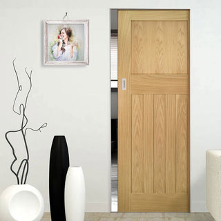Image: Cambridge Period Oak Absolute Evokit Single Pocket Door - Unfinished
