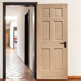 Image: Colonial Oak 6 Panel Door without Raised Mouldings